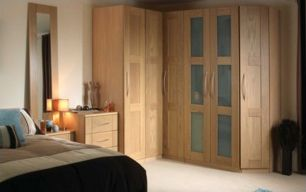 A stylish bedroom with built in wardrobe