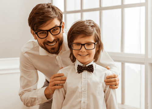 father and son with glasses
