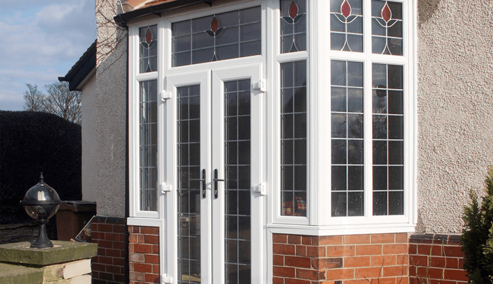 front porch with upvc windows and door