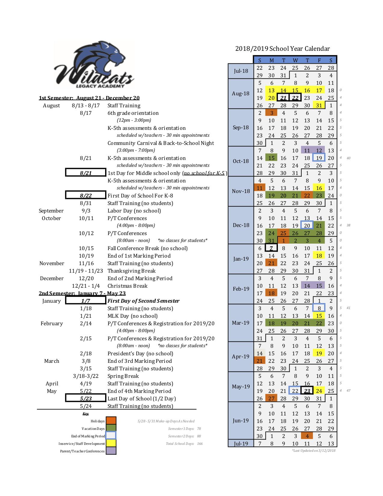 legacy academy school year calendar