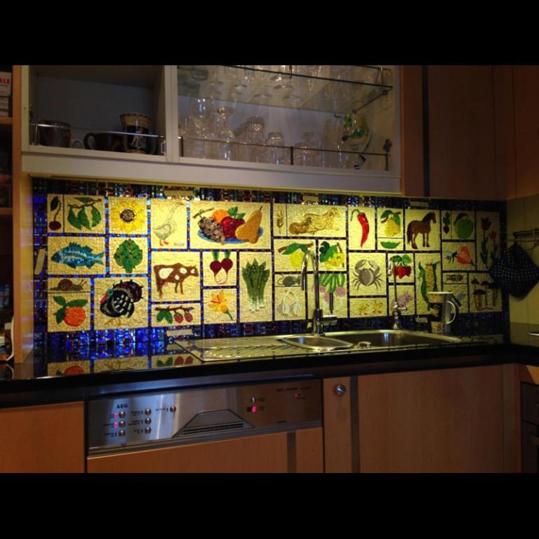 Pannello da cucina in mosaico