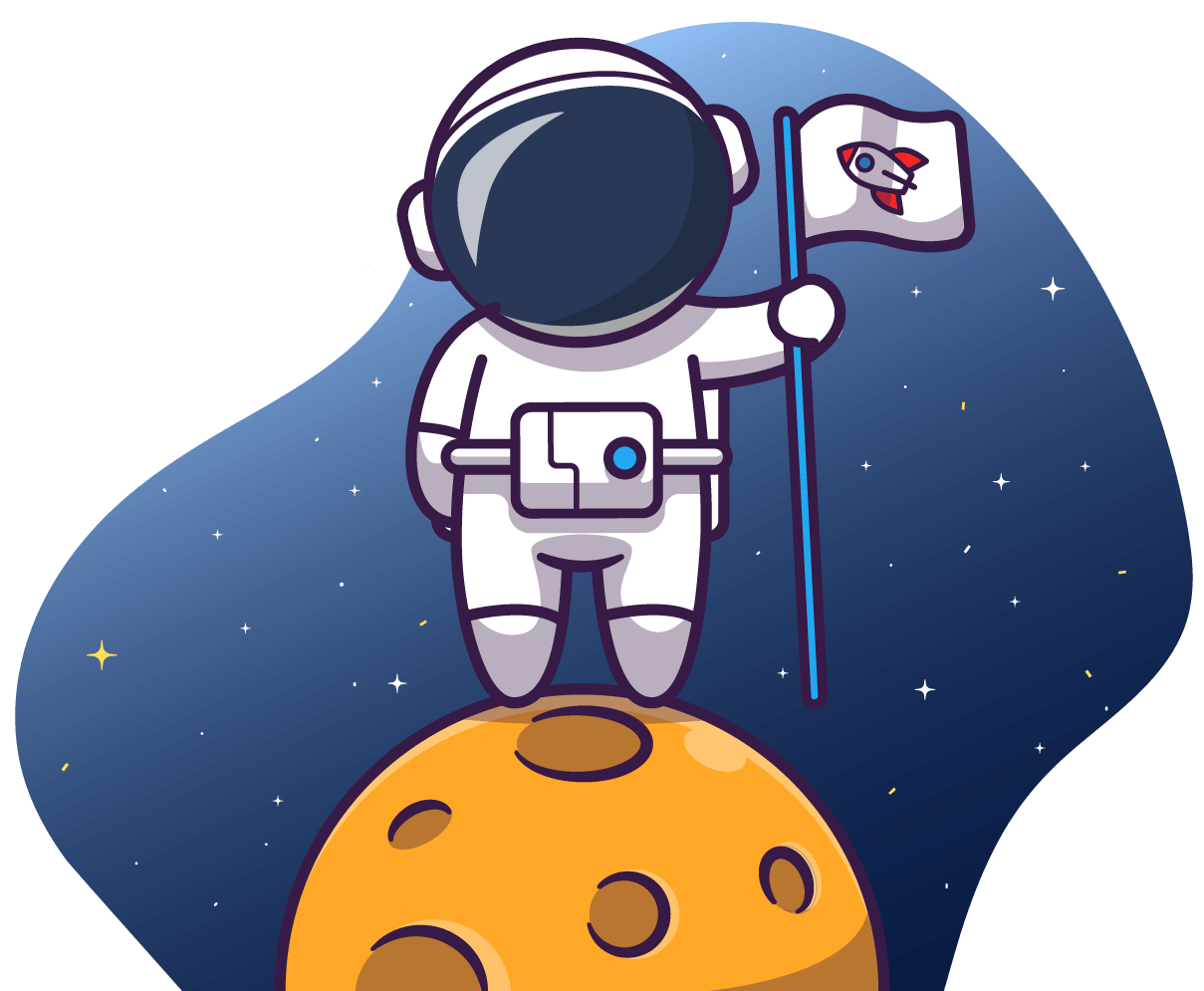 illustrated astronaut holding flag and standing on moon