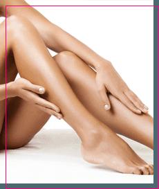 a woman's waxed legs