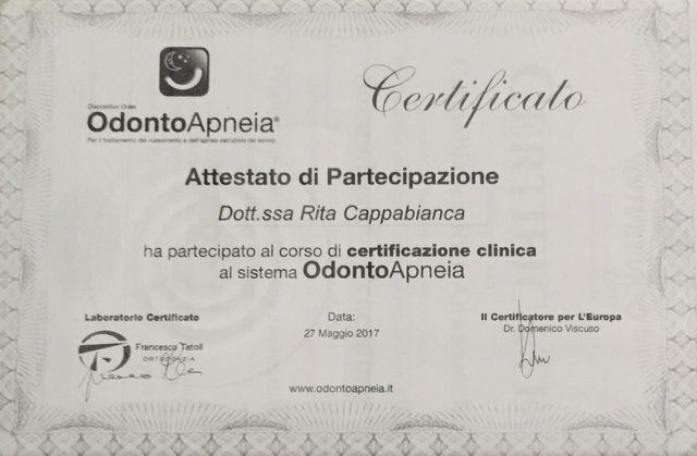attestato di partecipazione Rita Cappabianca