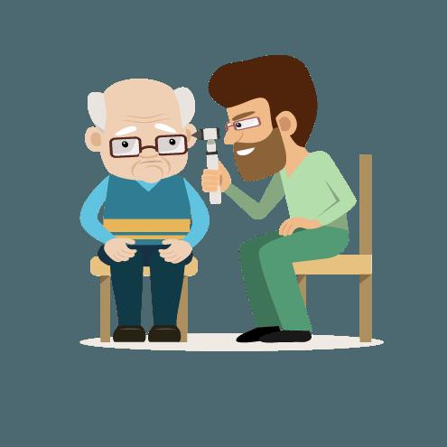 icona di un tecnico che visita un anziano