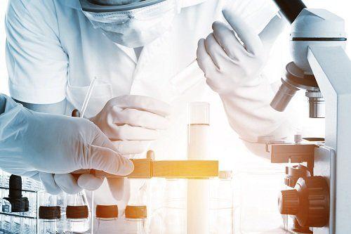 mani con dei guanti in lattice in un laboratorio durante delle analisi