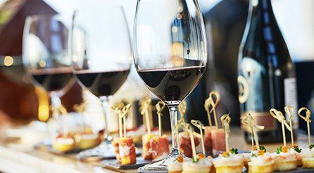 Glasses of wine and canapes