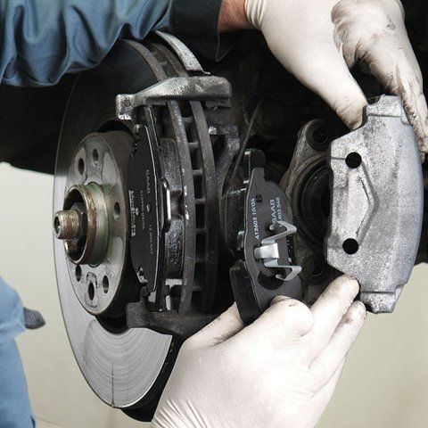 brake component being fitted