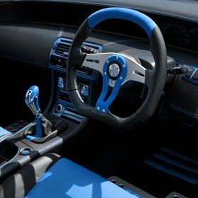steering on a blue car