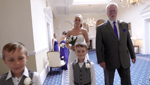 bride with her dad and kids
