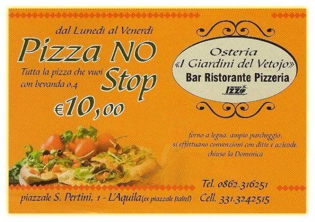 Una brochure con scritto Pizza No Stop 10 euro e Osteria, I giardini del Vetojo, Bar ristorante e Pizzeria