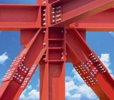 struttura in metallo dipinto di rosso