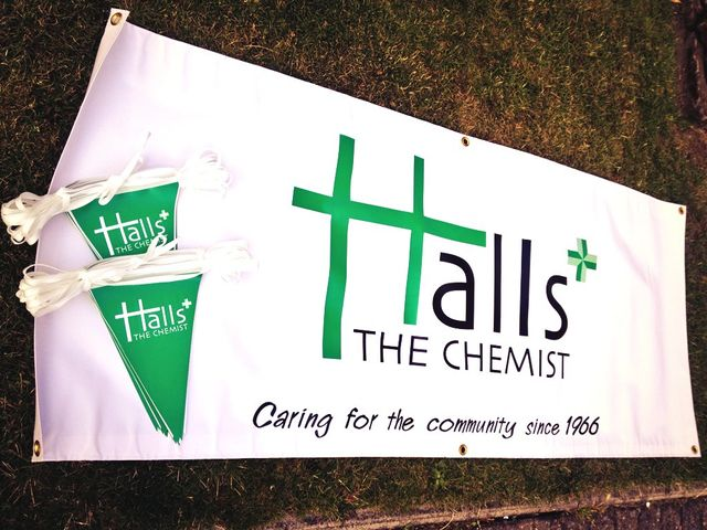 PVC Banners for Halls the Chemist with Bunting