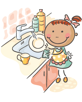 Girl washing pots