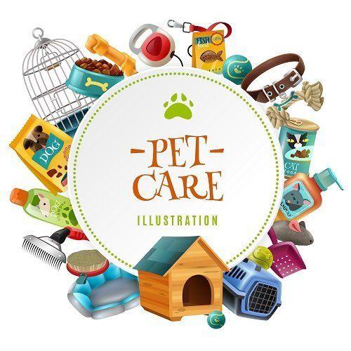 un disegno con scritto Pet Care Illustration e dei prodotti per animali