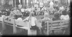 Group around the campfire, 1970s