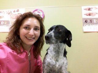 veterinario e un cane fanno una foto