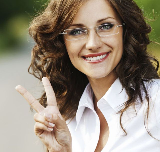 Woman satisfied with her optometrist in York, NE