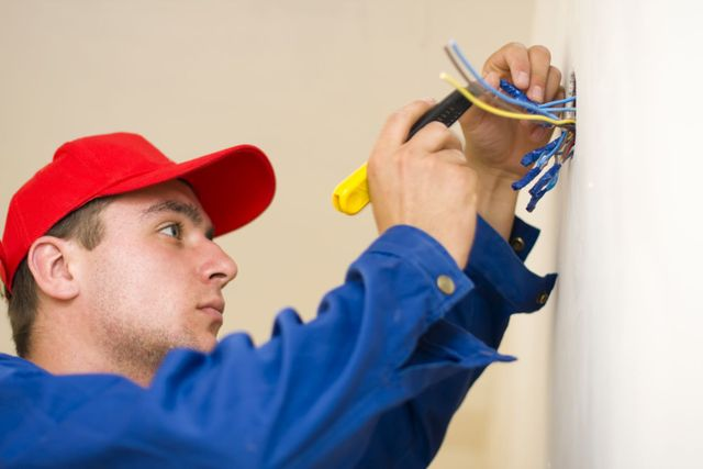 An electrician in Hawke's Bay working with an electrical inspector
