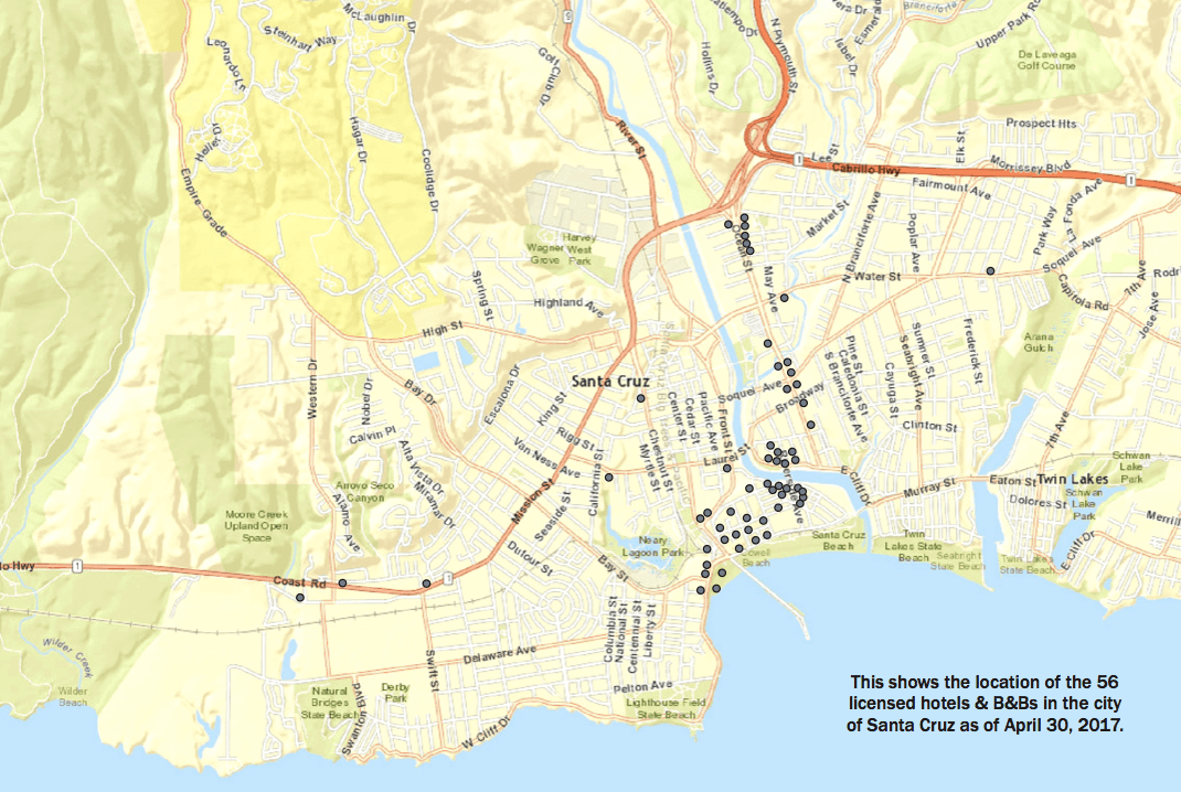 Map Of 56 Hotels In Santa Cruz Ca