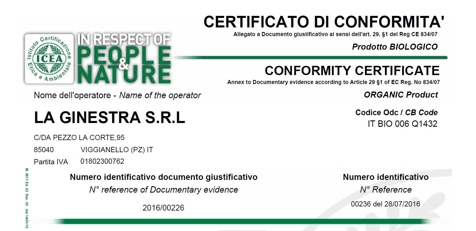 Certificato di conformità People&Nature per prodotti biologici