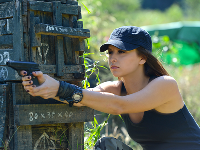 Woman taking the NRA Defensive Pistol Course