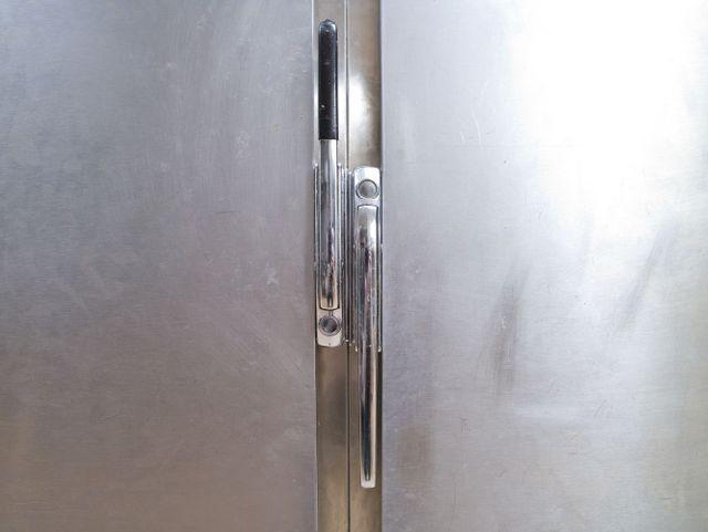 stainless steel door of a cool room