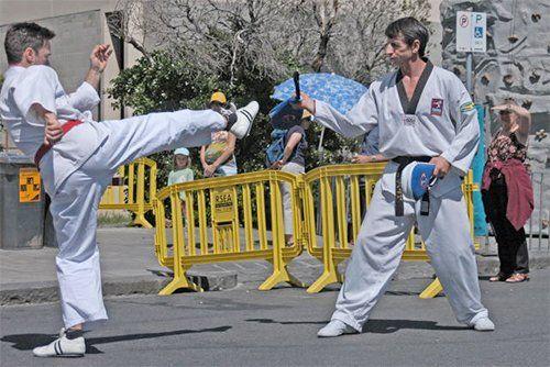 Taekwondo training in progress