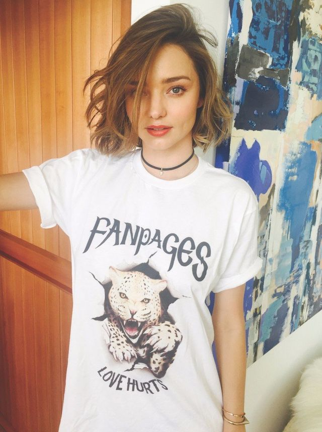 48a08382 Hello super cool white snow leopard LOVE HURTS shirt. You just know  Fanpages is a brand already. Miranda will personally deliver the first 10 t- shirts ...