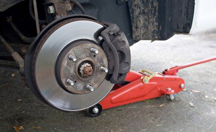 a wheel being fixed on