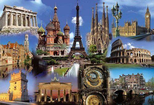Foto con dieci monumenti di varie città europee
