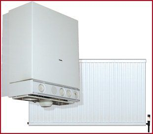 Picture collage of gas boiler and central heating radiator