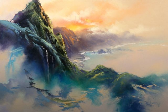 Landscape painting of ocean