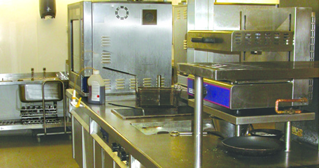 Commercial kitchen with catering equipment