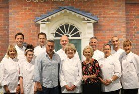 Catering team with Paul Hollywood & Mary Berry