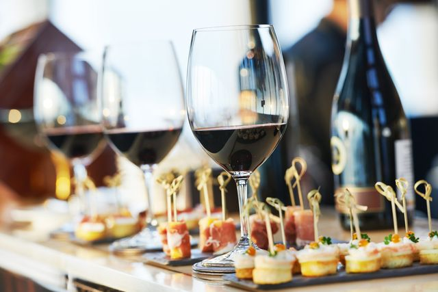 Specially selected red wine and canapes by Keeley's Kitchen in Surrey