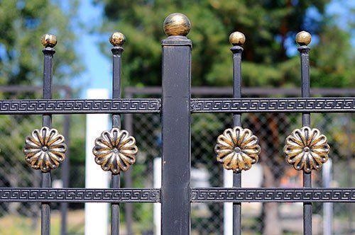Cancello in ferro battuto con fregi a forma di fiore