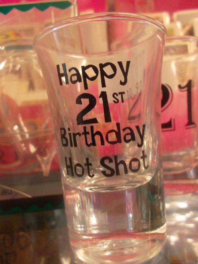 21st birthday themed shot glass