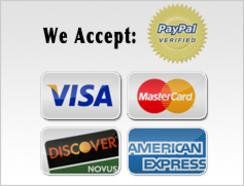 We Accept: PayPal, Visa, Master Card, Discover, and American Express