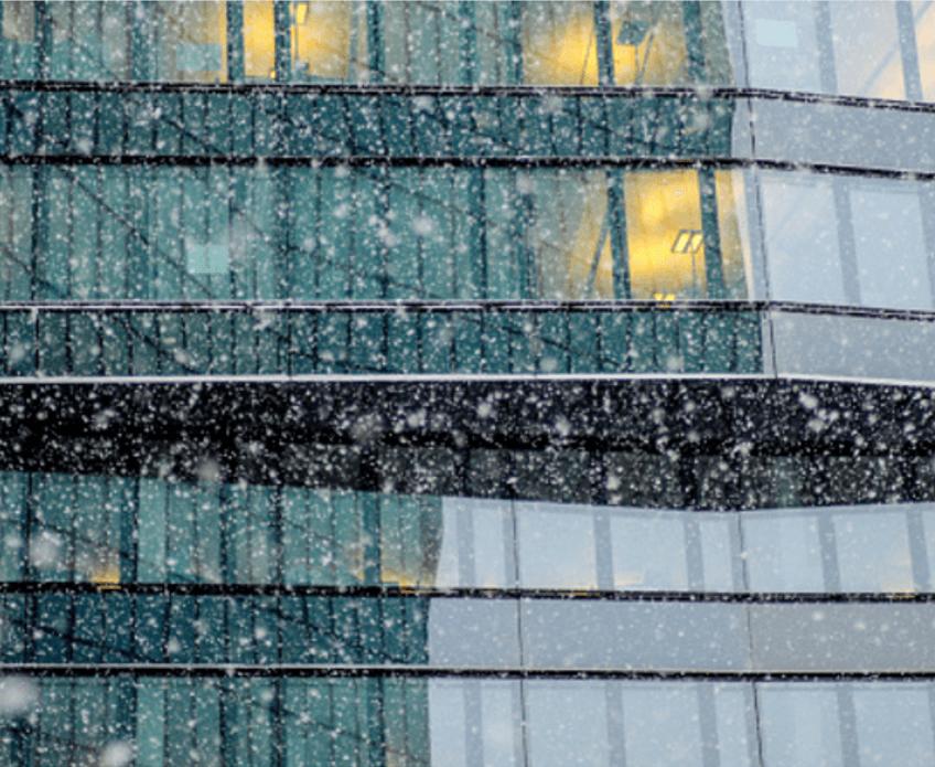 Steel bollards outside a corporate office