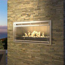 Outdoor gas fireplace with one sided cabinet