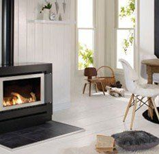 Indoor gas fireplace at home