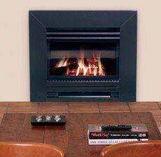 Indoor gas fireplace for residences