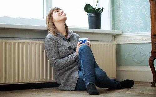 Woman enjoying cozy environment