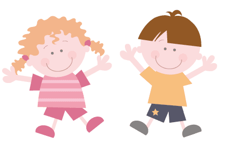 Little boy and girl smiling