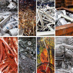 Diversi tipi di materiali separati e pronti per essere riciclati presso la Metal Recicling di Moncalieri