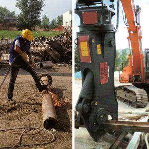 Operaio a lavoro con macchinari su materiali ferrosi presso la Metal Recicling di Moncalieri
