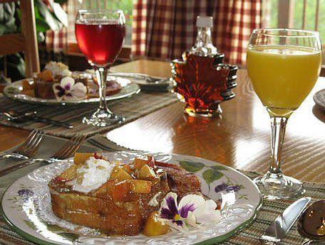 Stuffed peach french toast brakfast overlooking the smoky mountians
