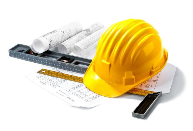 Elevator Maintenance — Hard Hat with Rulers and Floor Plan in Newark, DE