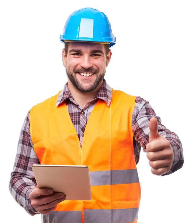 Elevator Service — Smiling Worker Gesturing Thumbs Up in Newark, DE